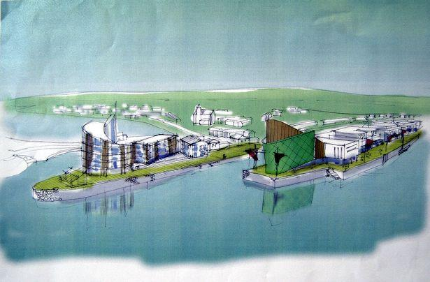An artistic impression from 2002 of the revised plans for the redevelopment of Hayle Harbour